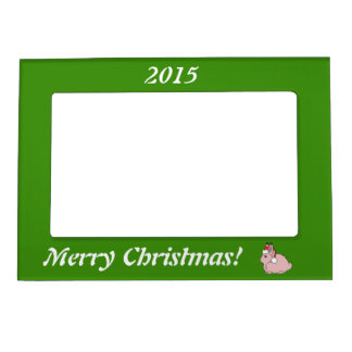 Light Pink Arctic Hare with Red Santa Hat Magnetic Photo Frame