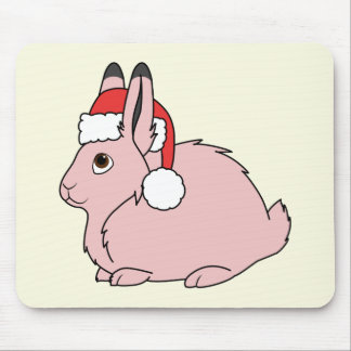 Light Pink Arctic Hare with Red Santa Hat Mouse Pad