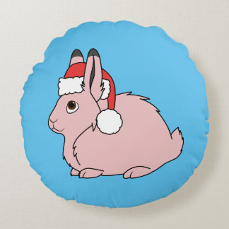 Light Pink Arctic Hare with Red Santa Hat Round Pillow
