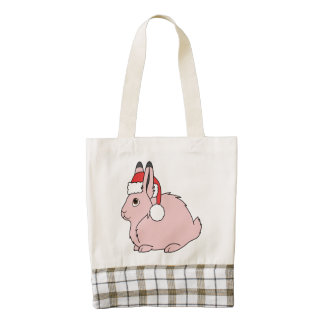 Light Pink Arctic Hare with Red Santa Hat Zazzle HEART Tote Bag