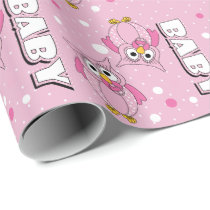 Light Pink Baby Polka Dot Owls Wrapping Paper