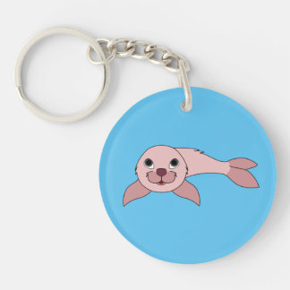 Light Pink Baby Seal Keychain