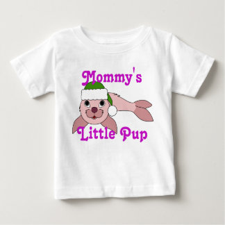 Light Pink Baby Seal with Green Santa Hat Infant T-shirt