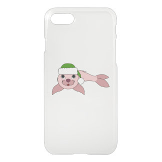 Light Pink Baby Seal with Green Santa Hat iPhone 8/7 Case