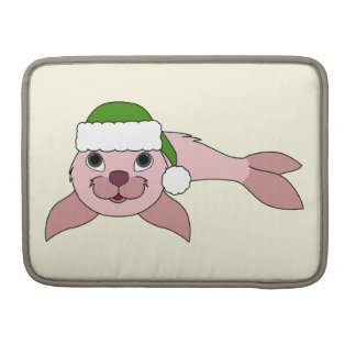 Light Pink Baby Seal with Green Santa Hat MacBook Pro Sleeves