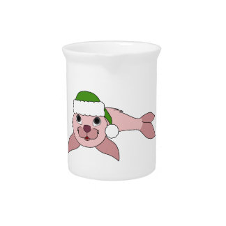 Light Pink Baby Seal with Green Santa Hat Pitcher