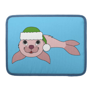 Light Pink Baby Seal with Green Santa Hat Sleeves For MacBooks