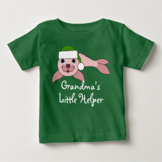 Light Pink Baby Seal with Green Santa Hat T Shirt