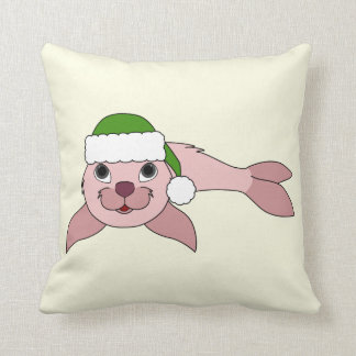 Light Pink Baby Seal with Green Santa Hat Throw Pillow