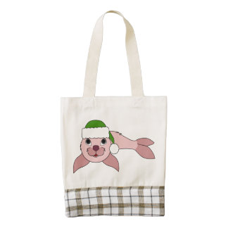 Light Pink Baby Seal with Green Santa Hat Zazzle HEART Tote Bag