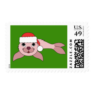 Light Pink Baby Seal with Red Santa Hat Postage
