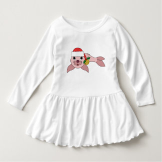 Light Pink Baby Seal with Santa Hat & Gold Bell Dress