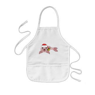 Light Pink Baby Seal with Santa Hat & Gold Bell Kids' Apron