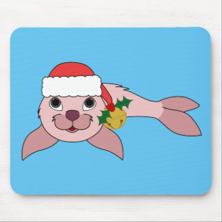 Light Pink Baby Seal with Santa Hat & Gold Bell Mouse Pad