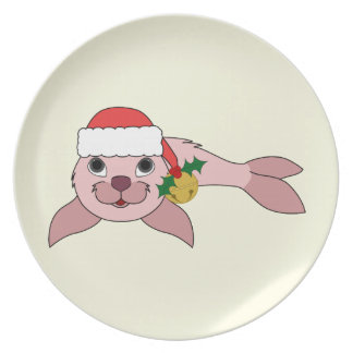 Light Pink Baby Seal with Santa Hat & Gold Bell Plate