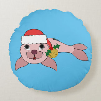 Light Pink Baby Seal with Santa Hat & Gold Bell Round Pillow