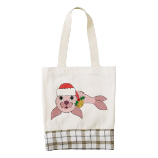 Light Pink Baby Seal with Santa Hat & Gold Bell Zazzle HEART Tote Bag
