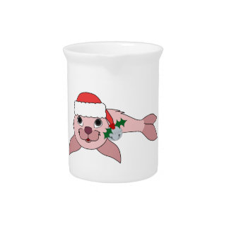 Light Pink Baby Seal with Santa Hat & Silver Bell Drink Pitcher