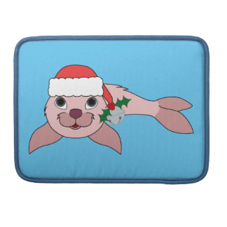 Light Pink Baby Seal with Santa Hat & Silver Bell MacBook Pro Sleeve