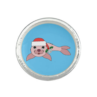 Light Pink Baby Seal with Santa Hat & Silver Bell Ring