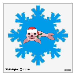 Light Pink Baby Seal with Santa Hat & Silver Bell Wall Sticker
