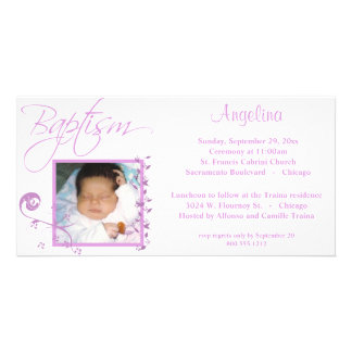 Light Pink Baptism Photo Invitation