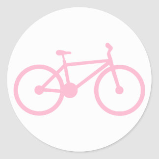 Light Pink Bicycle Classic Round Sticker