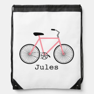 Light Pink Bicycle Drawstring Backpack