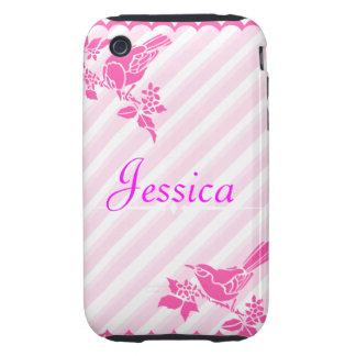 Light Pink Birds With Diagonal Stripes Custom Name Tough iPhone 3 Cases