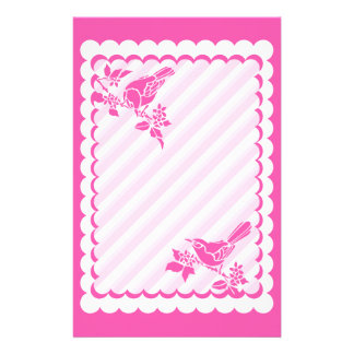 Light Pink Birds With Diagonal Stripes Stationery