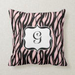 Light Pink, Black and White Zebra Monogram Cushion
