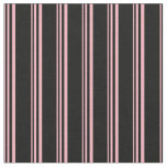 [ Thumbnail: Light Pink & Black Colored Lines Pattern Fabric ]