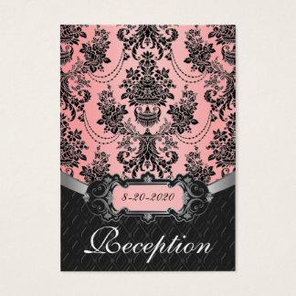 Light Pink & Black Damask Wedding Reception Cards