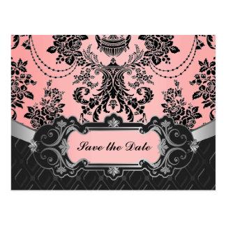 Light Pink & Black Damask Wedding Save the Dates Postcard