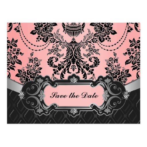 Light Pink & Black Damask Wedding Save the Dates Post Card