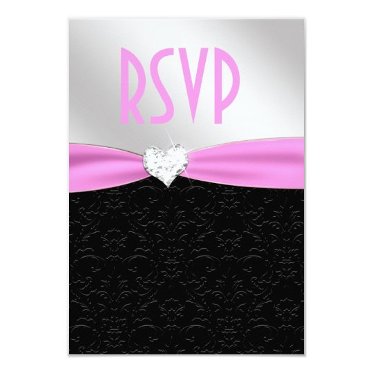 Light Pink Black Floral Damask Diamond Heart RSVP Card