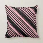 [ Thumbnail: Light Pink & Black Pattern Throw Pillow ]