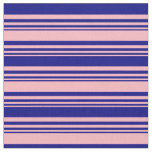[ Thumbnail: Light Pink & Blue Colored Lined Pattern Fabric ]