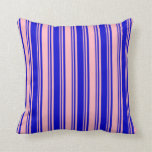[ Thumbnail: Light Pink & Blue Colored Stripes/Lines Pattern Throw Pillow ]