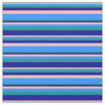 [ Thumbnail: Light Pink, Blue, Dark Cyan & Dark Blue Stripes Fabric ]