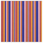 [ Thumbnail: Light Pink, Blue, Dark Orange & Red Lined Pattern Fabric ]