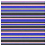 [ Thumbnail: Light Pink, Blue, Light Slate Gray & Black Lines Fabric ]