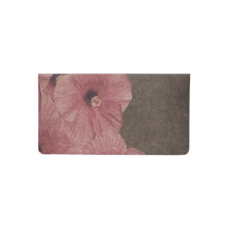 Light Pink Brown Flowers Checkbook Cover