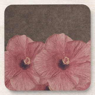 Light Pink Brown Flowers II Drink Coaster