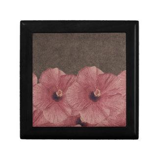 Light Pink Brown Flowers II Keepsake Box