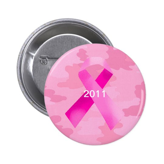 Light Pink Camouflage Pink Ribbon Date Button