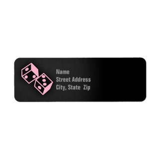 Light Pink Casino Dice Custom Return Address Labels