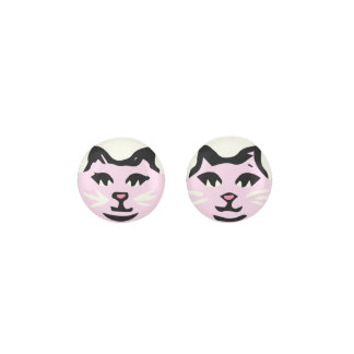 LIGHT PINK CAT With White Whiskers Earrings