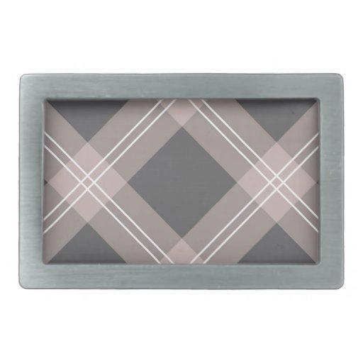 light pink & charcoal grey plaid belt buckle