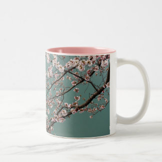 Light pink cherry blossoms on turquois background Two-Tone coffee mug